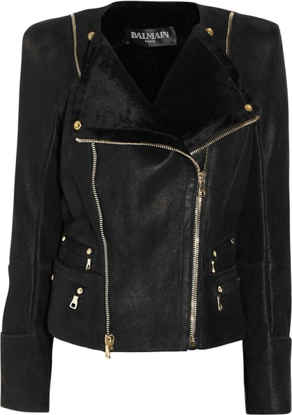 Balmain Shearling Biker Jacket in Black - Lyst