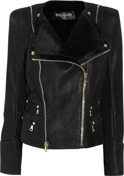 Balmain Shearling Biker Jacket in Black