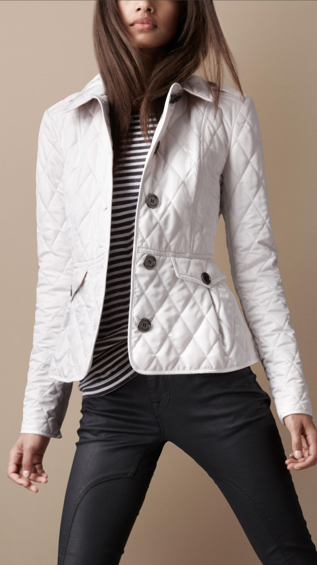 Burberry Brit Fitted Quilted Jacket In Chalk White Lyst