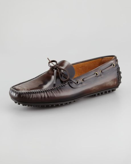 car shoe leather driver brown in brown for lyst