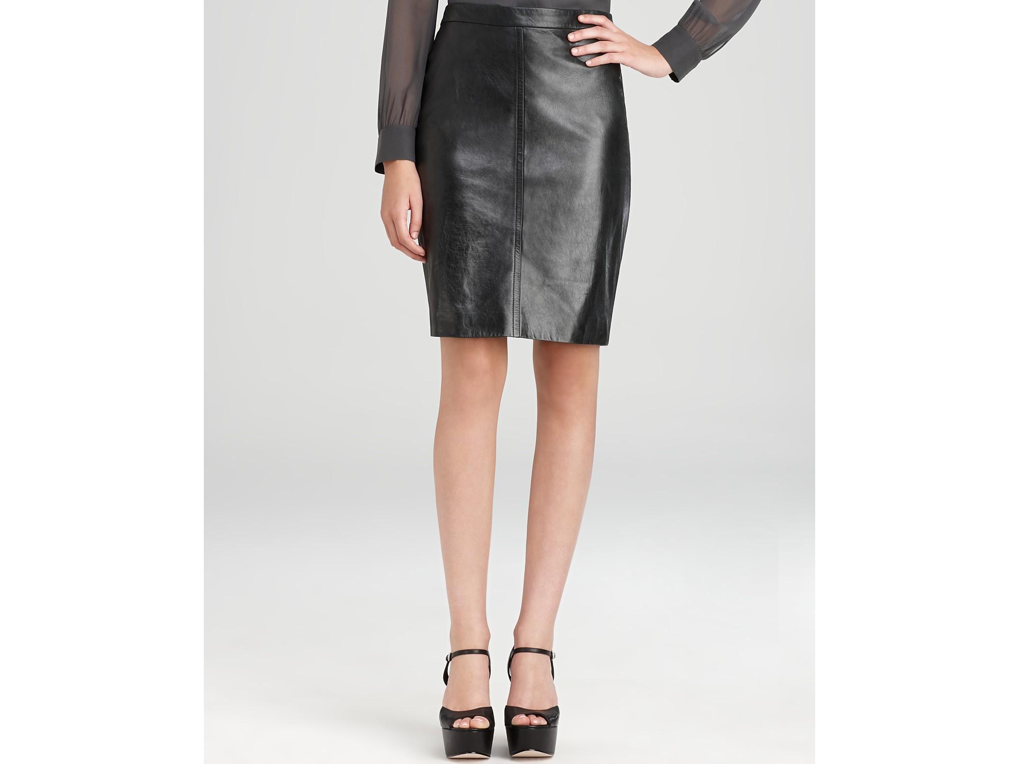 173b8ff0c2edb Lyst - DKNY Leather Pencil Skirt in Black