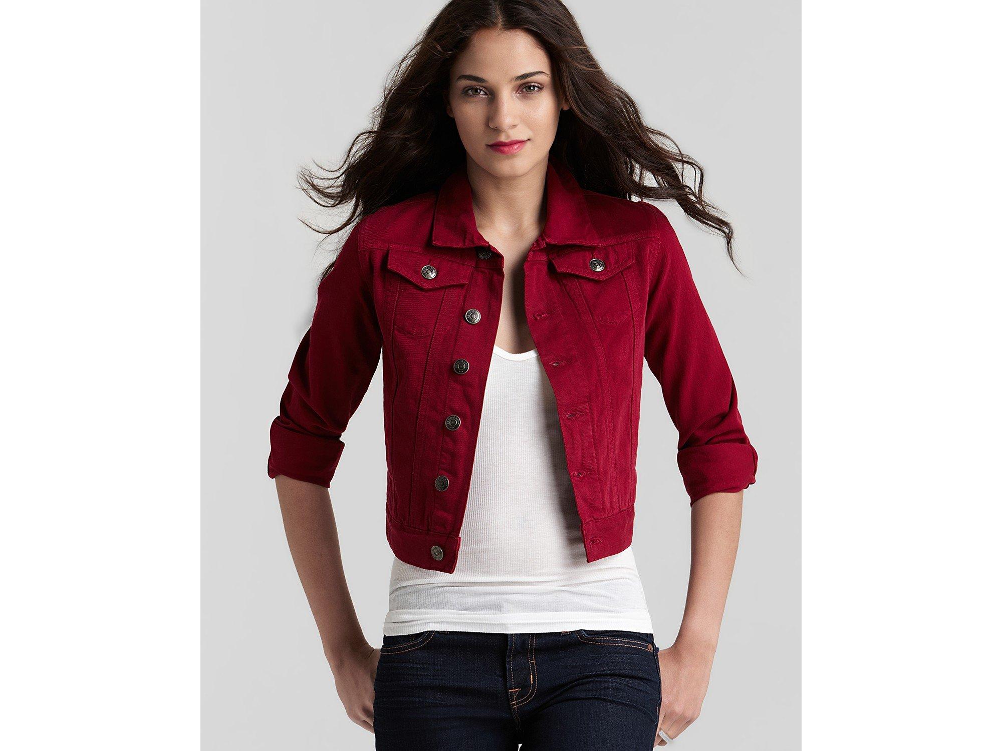 Earnest sewn Denim Jacket in Cabernet in Red | Lyst