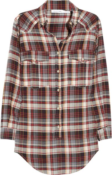 Etoile Isabel Marant Madoc Oversized Cotton Plaid Shirt in Multicolor (multicolored)