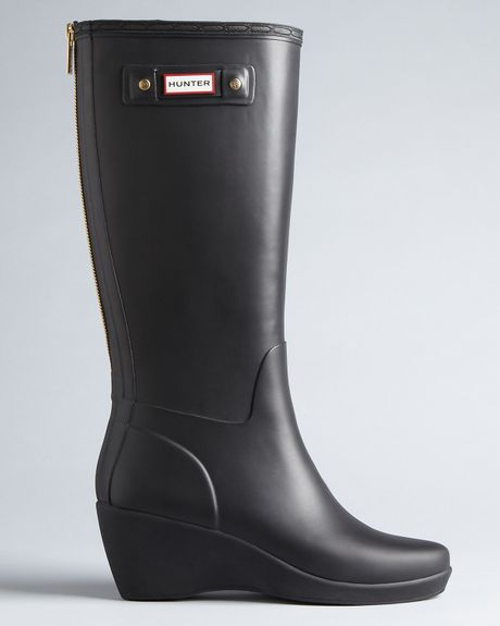 Hunter Rain Boots Moss Wedge In Black Lyst