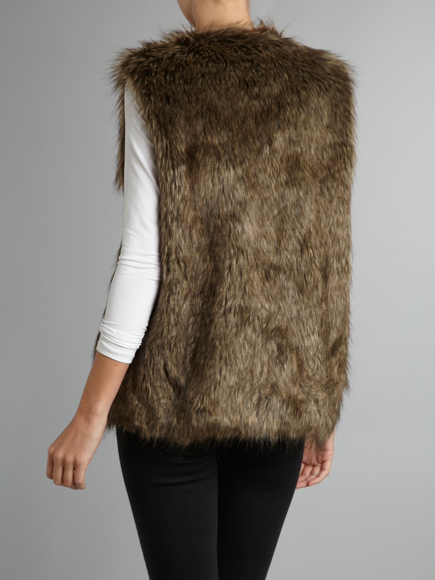 Love Moschino Faux Fur Gilet In Brown Lyst