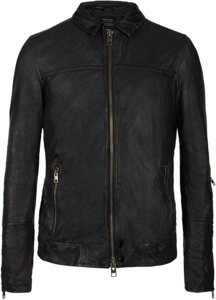 Allsaints Tricky Leather Bomber Jacket in Black for Men - Lyst