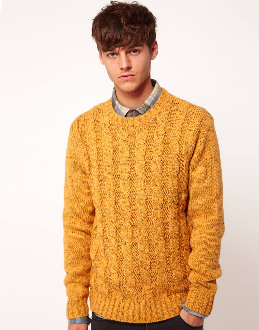 Asos Cable Jumper in Yellow for Men | Lyst
