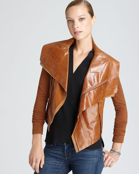 Bcbgmaxazria Ana Raw Edge Leather Jacket  in Brown (ginger)