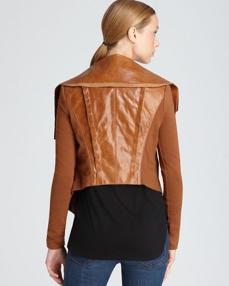 Bcbgmaxazria Ana Raw Edge Leather Jacket in Brown (ginger) | Lyst