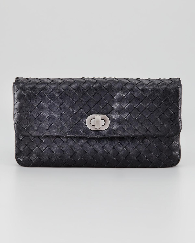 bottega veneta woven leather clutch small in black lyst. Black Bedroom Furniture Sets. Home Design Ideas
