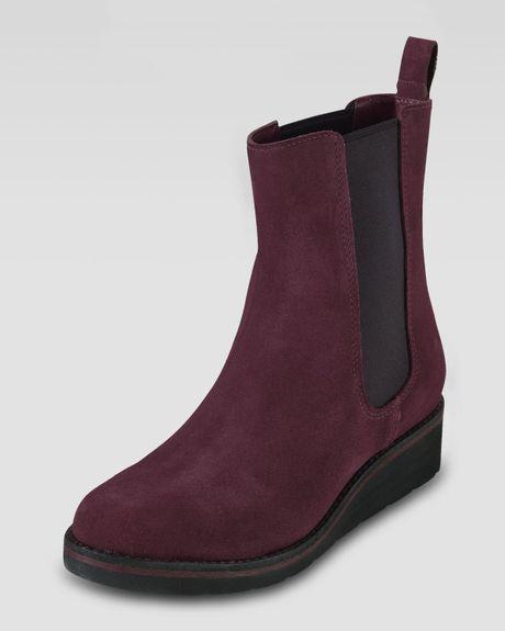 cole haan johanna gored waterproof suede boot in purple