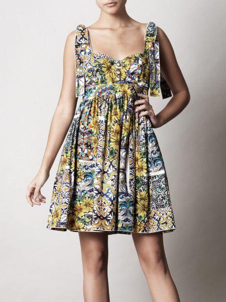 Dolce Amp Gabbana Mediterranean Mosaic Print Dress In