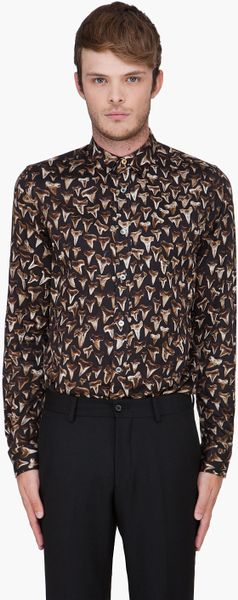 Paul Smith  Shark Teeth Print Shirt in Black for Men (bronze) - Lyst