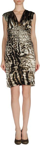 Roberto Cavalli Short Dress in Animal (grey) - Lyst