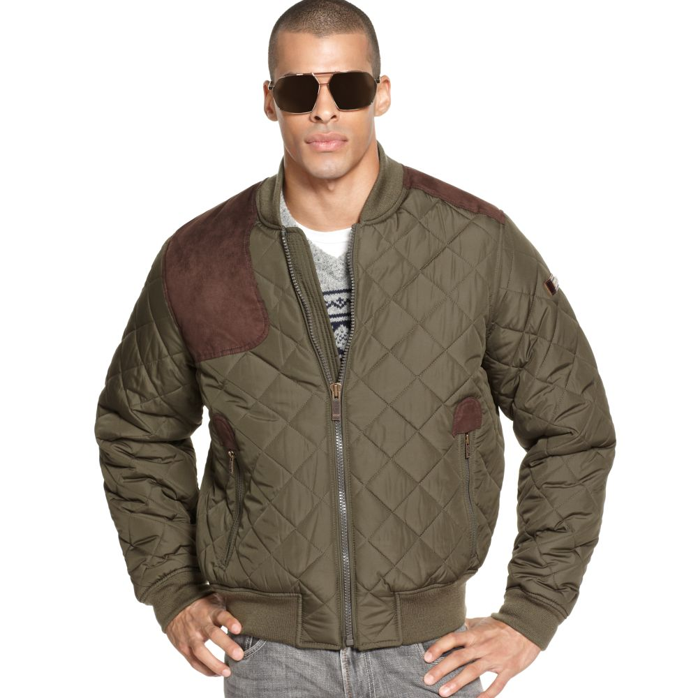 Sean john Justice Quilted Bomber Jacket in Green for Men | Lyst