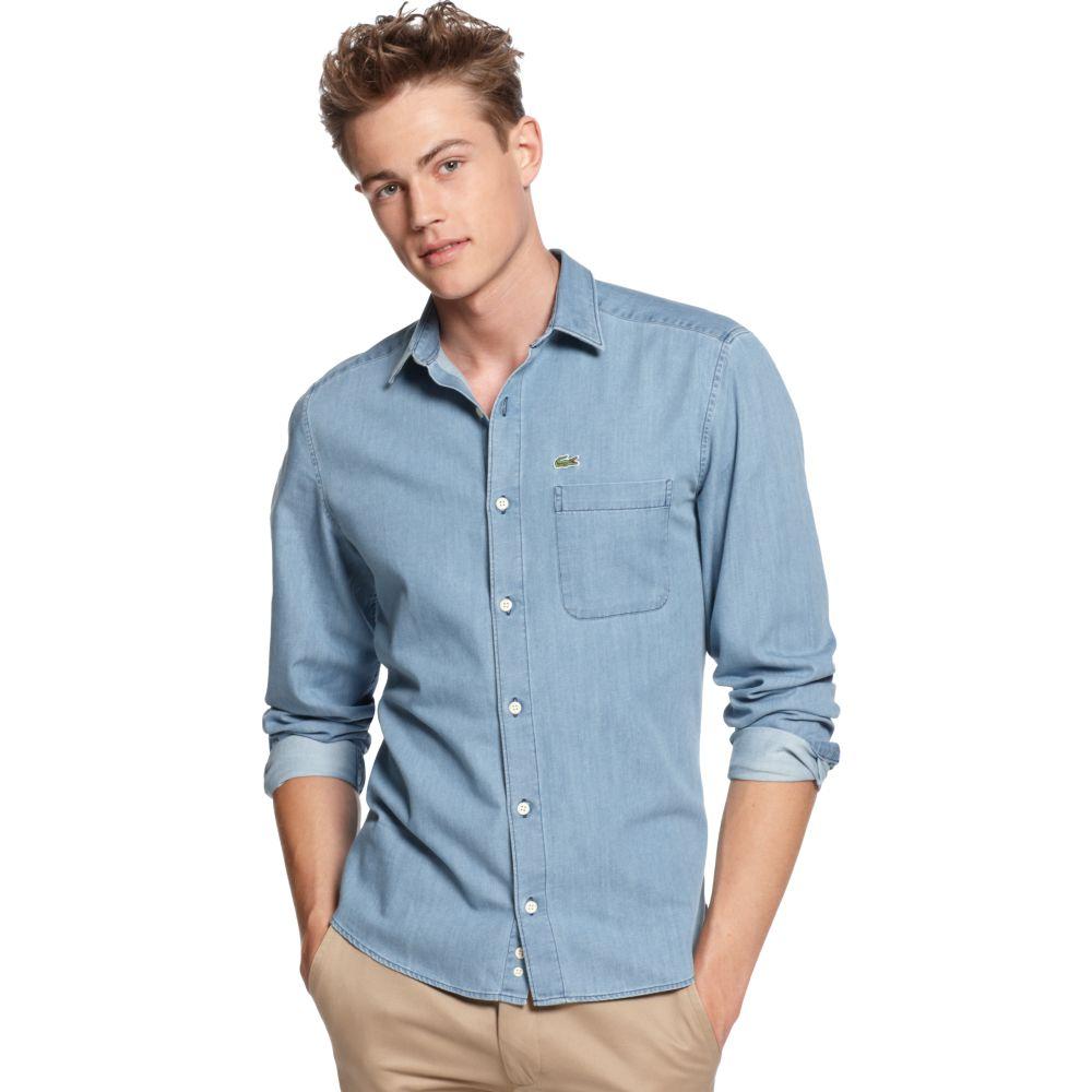 5faaac4943 Lacoste Blue Slim Fit Long Sleeve Denim Shirt for men
