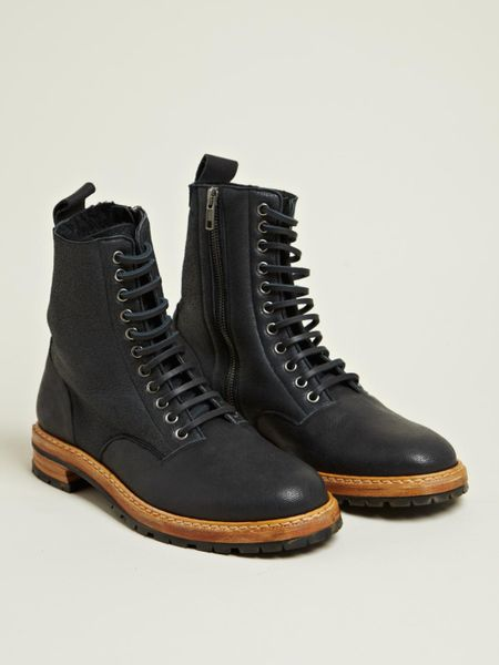Maison Margiela Mens Shearling Lined Derby Boots In Black