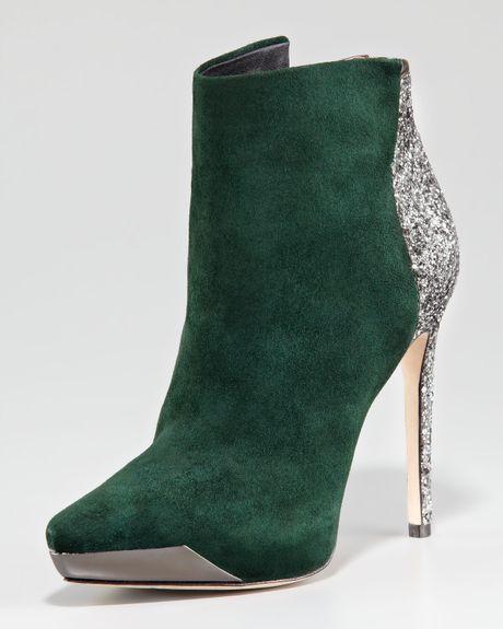 Rachel Roy Suede Glitter Bootie In Green Dark Green