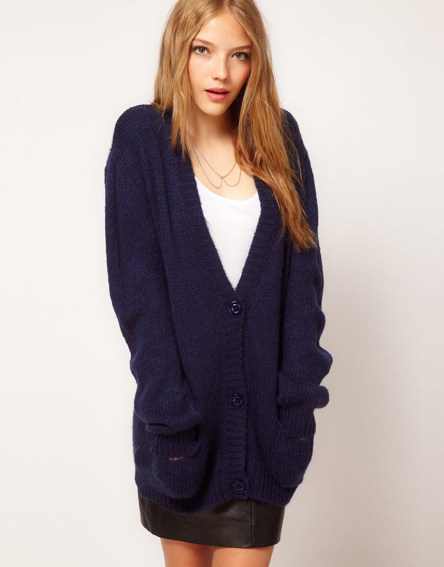 Asos collection Asos Boyfriend Cardigan in Fluffy Yarn in Blue | Lyst
