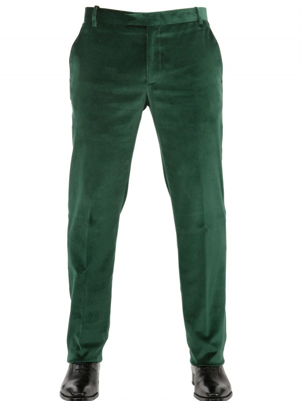 706522780072 Etro 19m Stretch Slim Fit Velvet Trousers in Green for Men - Lyst