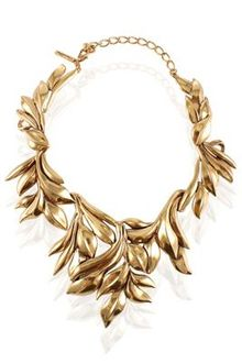 Oscar de la Renta Leaf Motif Collar Necklace - Lyst