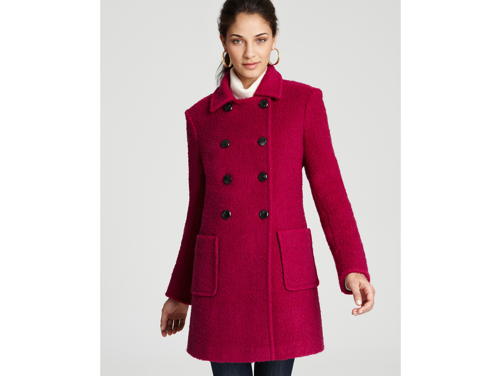 Dkny Joanna Double Breasted Patch Pocket Coat in Pink | Lyst
