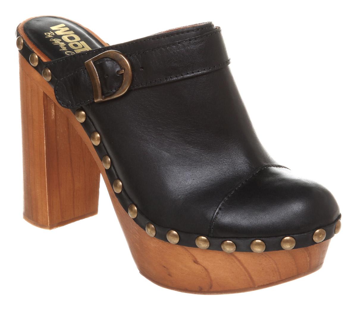 ecb273d422 Jeffrey Campbell Charlie Heeled Clog Black Leather