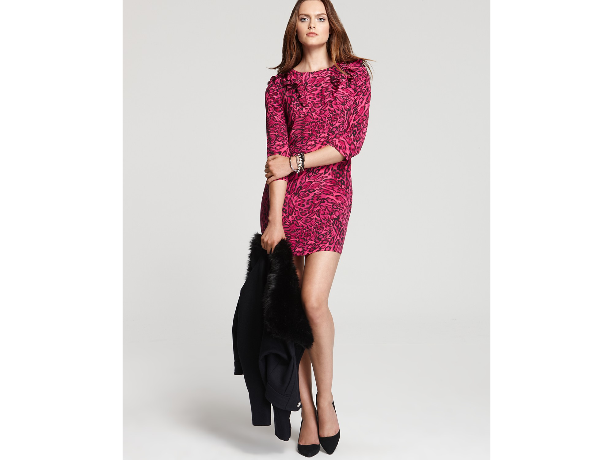 Lyst Juicy Couture Leopard Print Silk Dress In Red