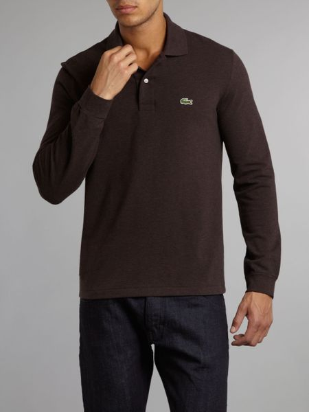 Lacoste Classic Long Sleeved Marl Polo Shirt In Brown For