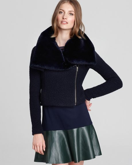 Sachin & Babi Jacket Caitlin with Faux Fur Trim in Blue (midnight)
