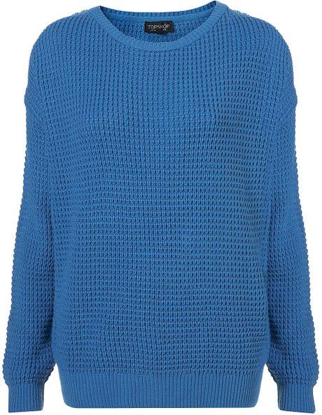 Topshop Knitted Textured Grunge Jumper in Blue (cobalt)