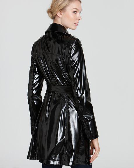 Black patent trench coat