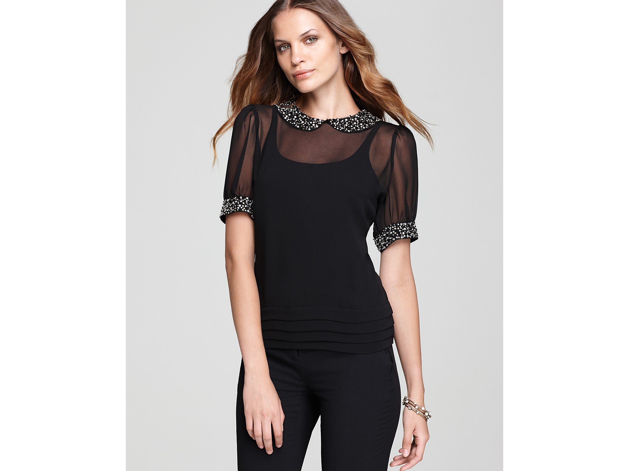 Lyst Vince Camuto Short Sleeve Jeweled Trim Peter Pan Blouse In Black