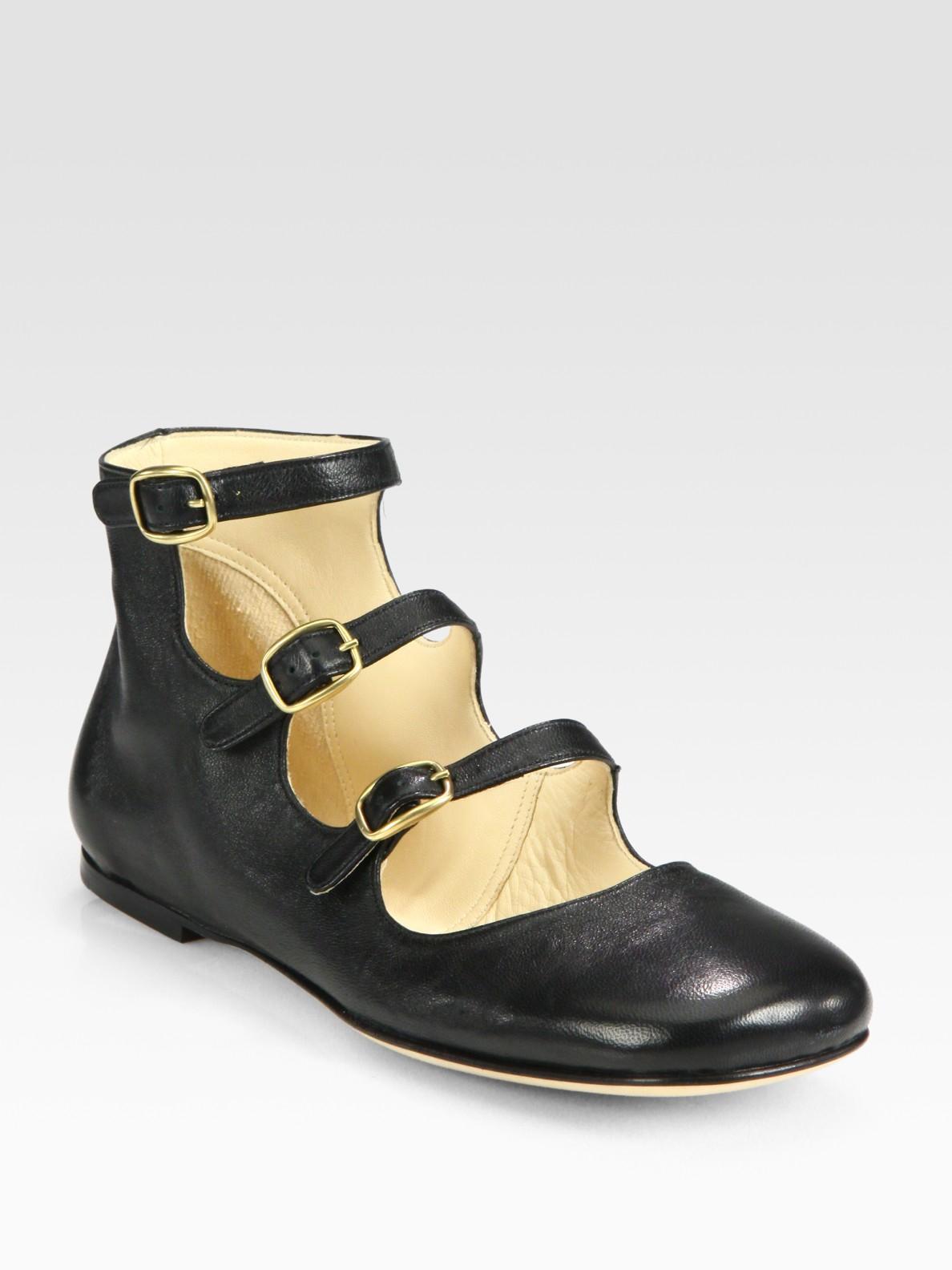 947763645a50 Lyst - Chloé Leather Triple Buckle Strap Ballet Flats in Black