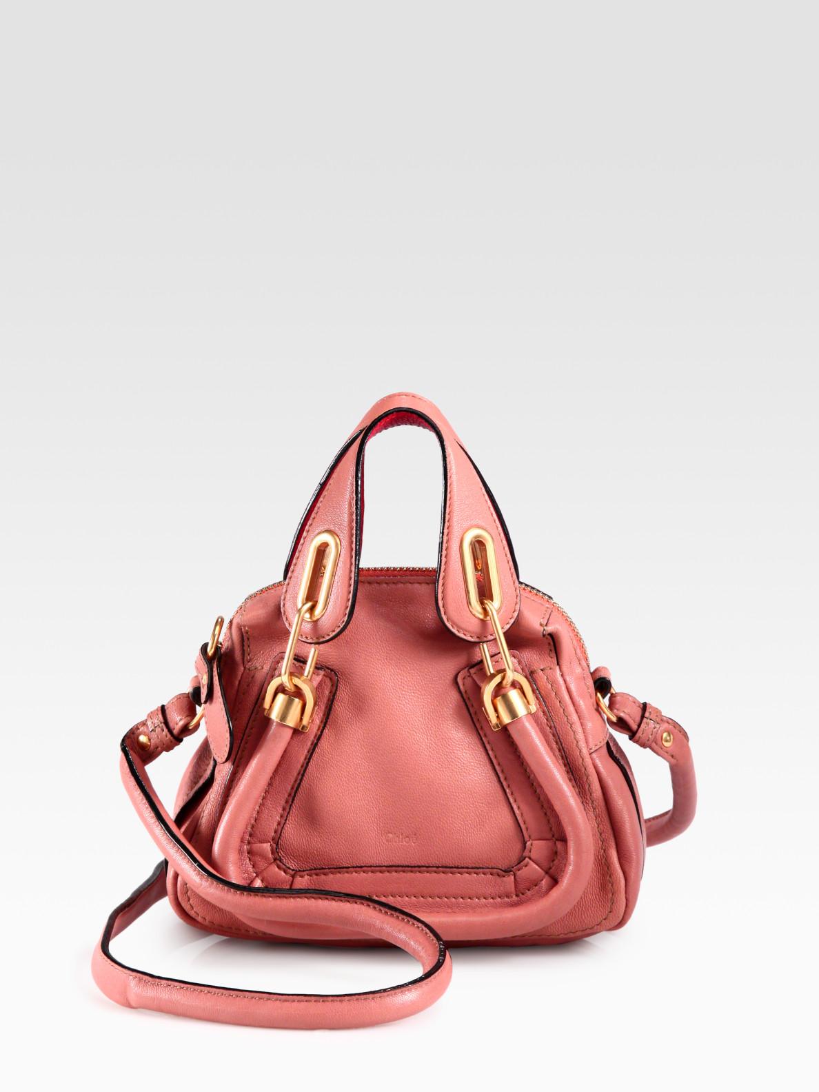 Chlo¨¦ Mini Leather Paraty Crossbody Bag in Pink | Lyst