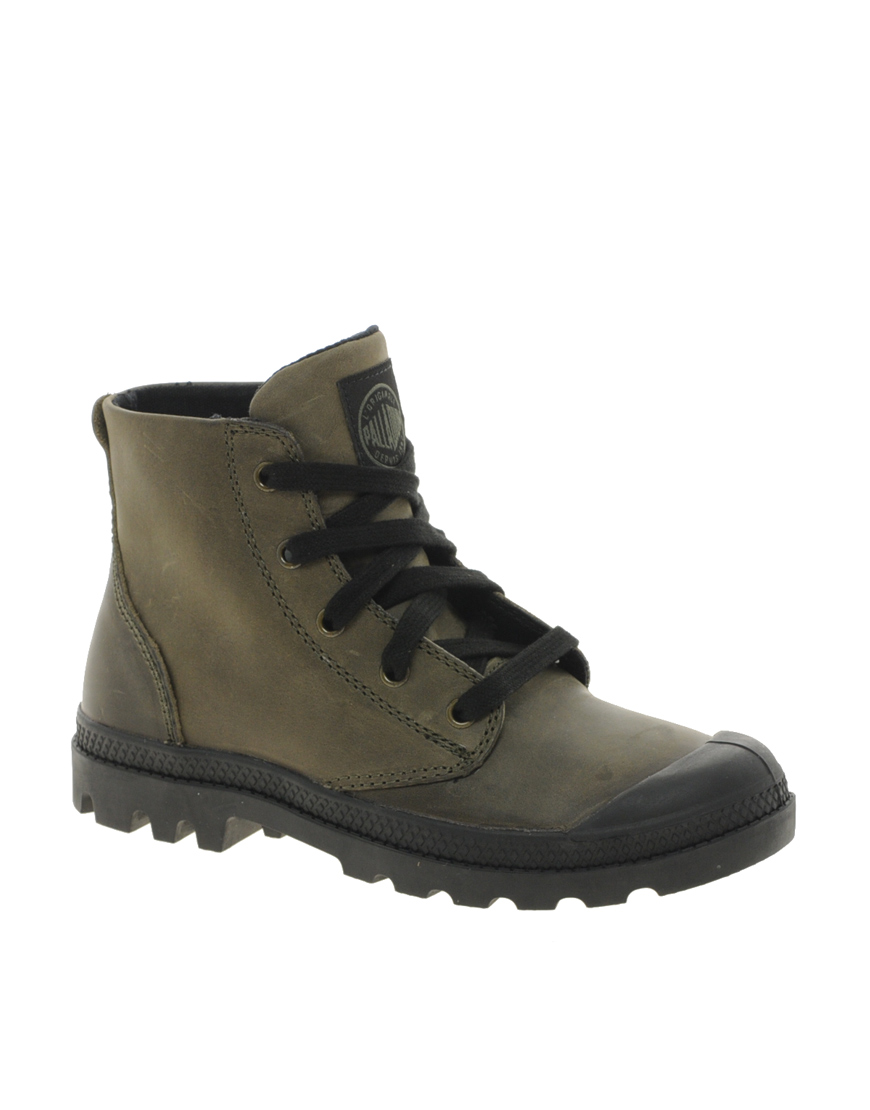Cool Palladium Pampa Grey Leather S Hi Lace Up Ankle Boots In Gray Grey