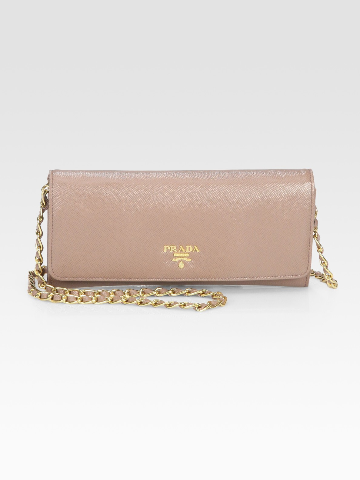 346b546672d2 shopping prada saffiano chain crossbody wallet e50cb 8853d; where can i buy  lyst prada saffiano metal oro wallet with chain in natural 5270c 8df9d