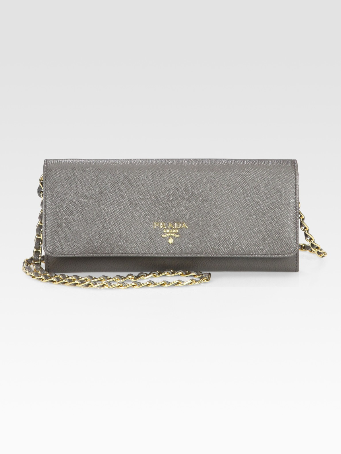 saffiano chain crossbody wallet prada
