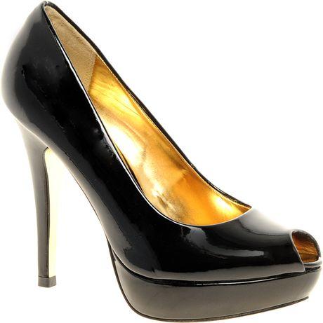 ted baker svana 4 black peep toe platform shoes in black