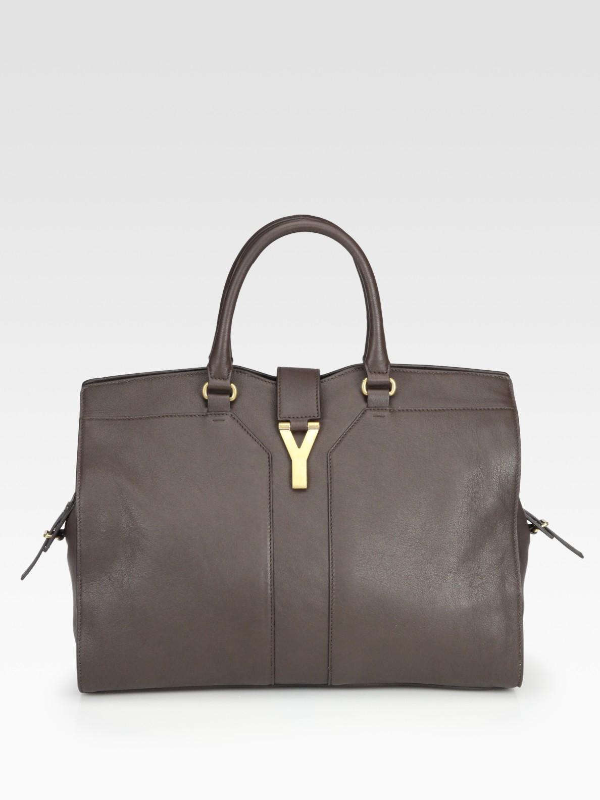 Lyst Saint Laurent Ysl Cabas Chyc Large Leather East
