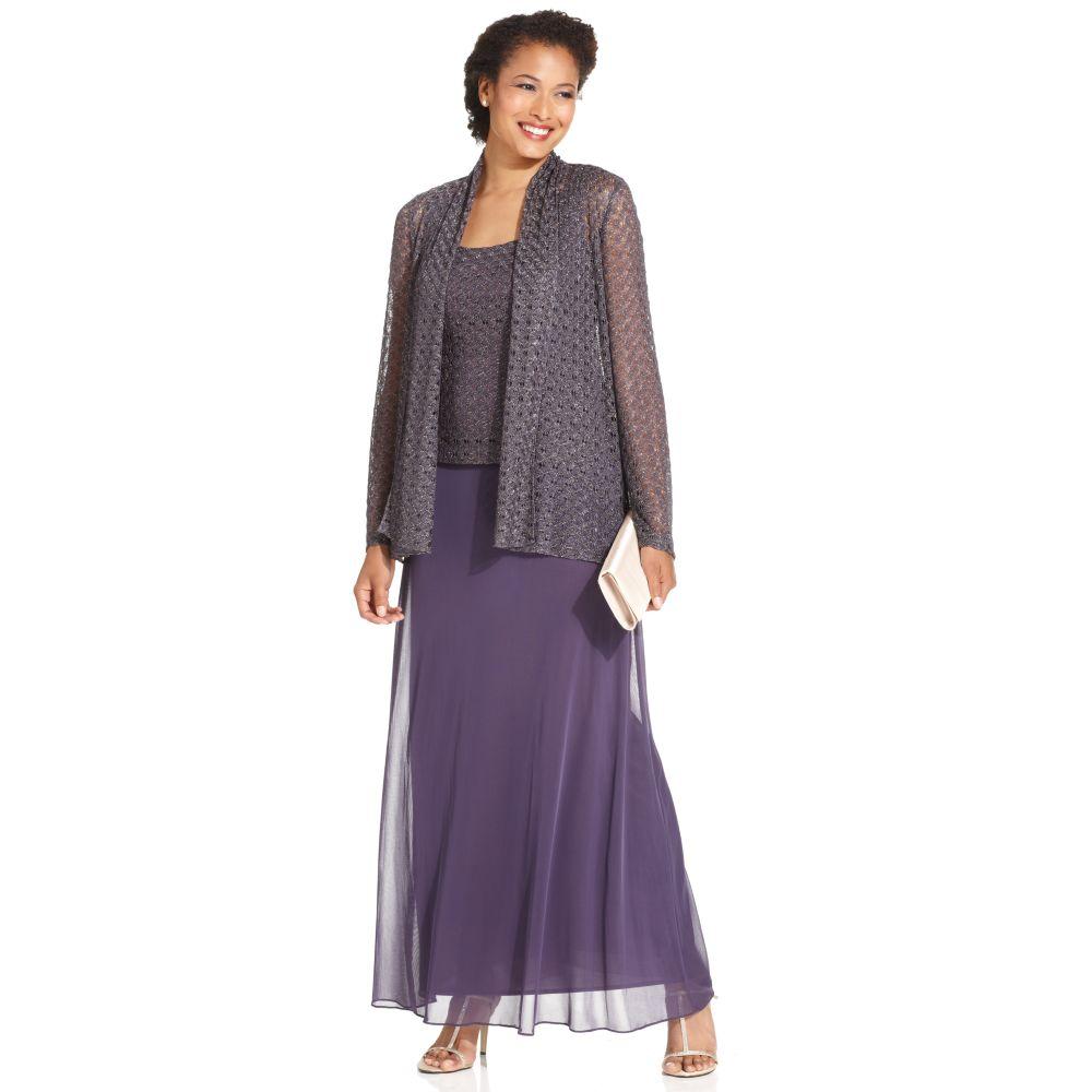8e3cafca5eeae Lyst - Patra Sleeveless Metallic Gown in Purple