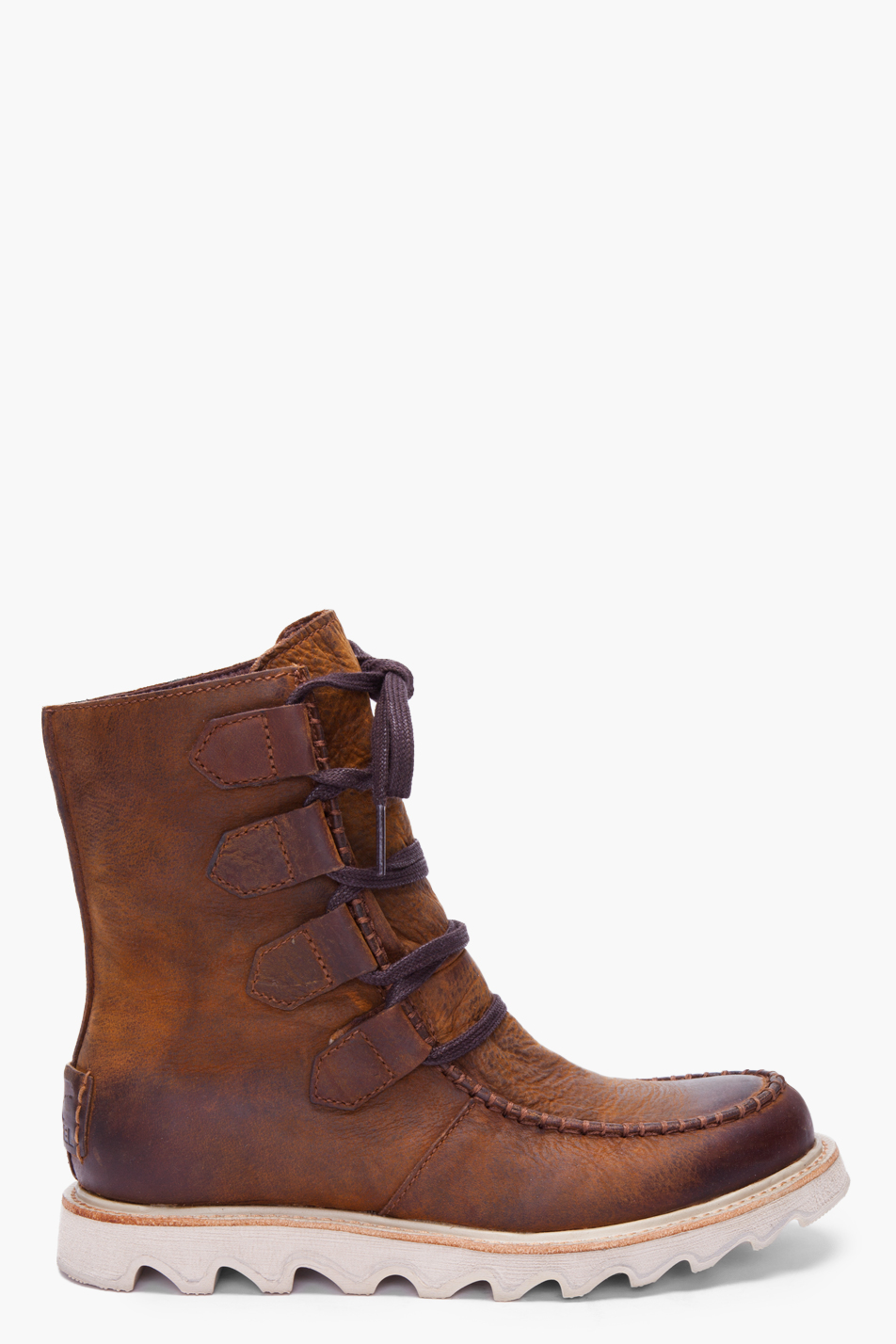 sorel brown leather mad boots in brown for lyst