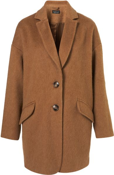 Topshop Mohair Boyfriend Coat in Brown (camel)