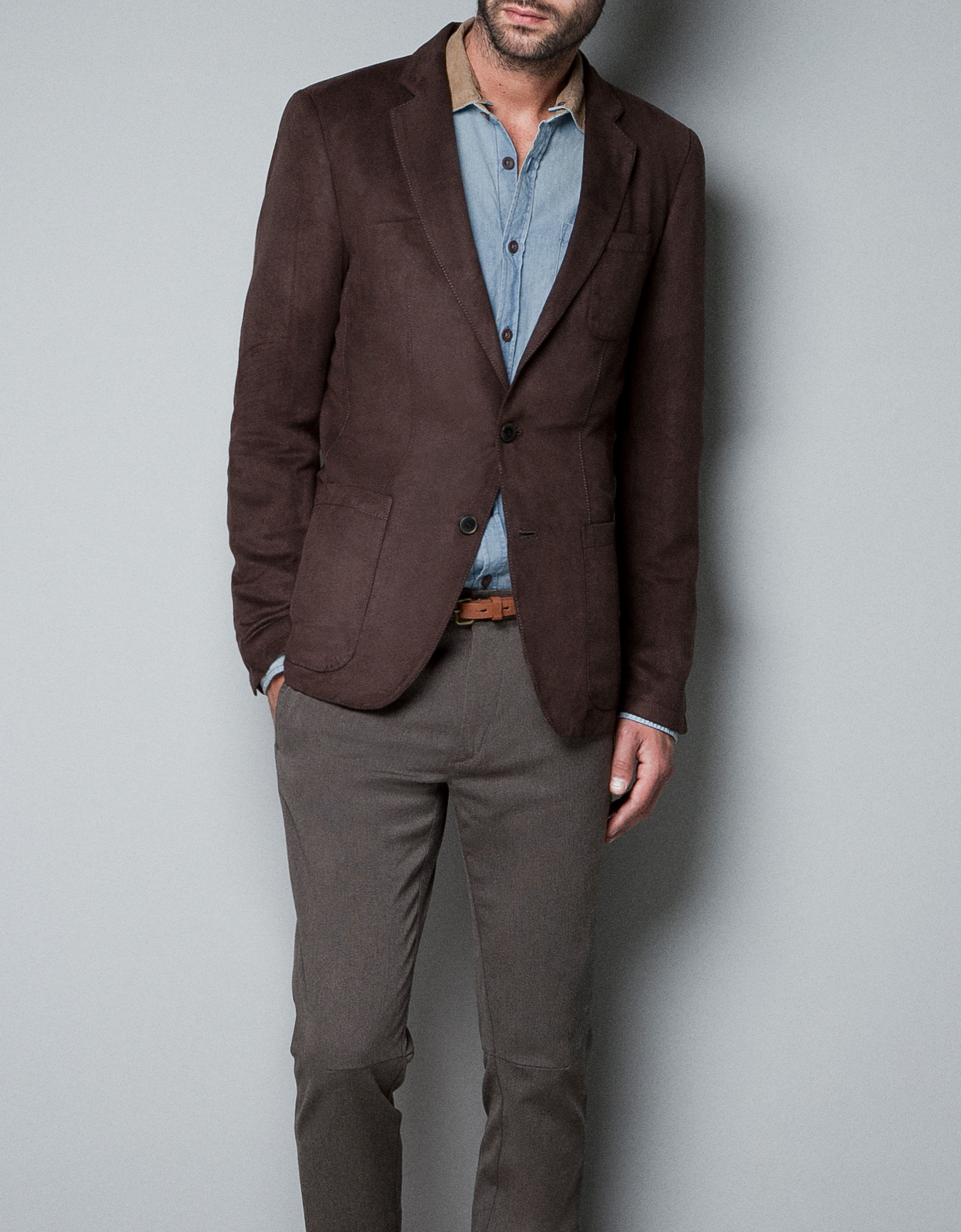 Zara Faux Suede Blazer in Brown for Men | Lyst