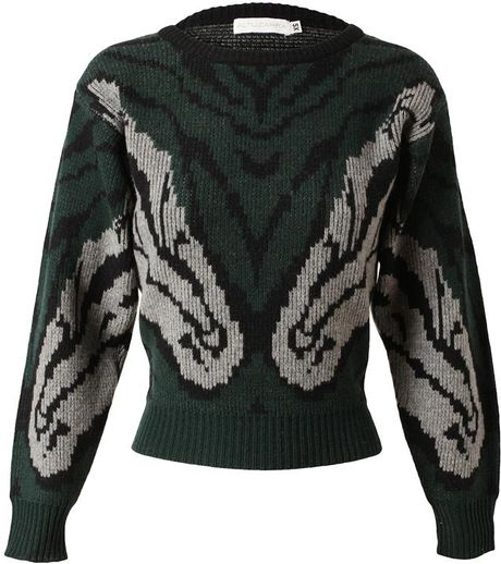 Altuzarra Woolcashmere Jumper with Horse Head Motif in Green