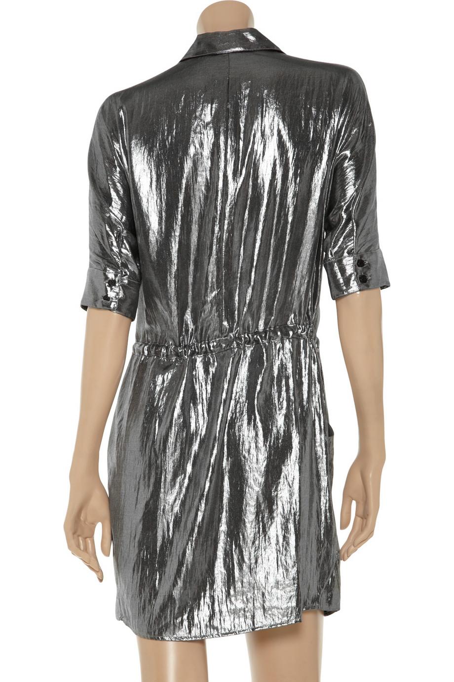 Lyst Bcbgmaxazria Metallic Shirt Dress In Metallic