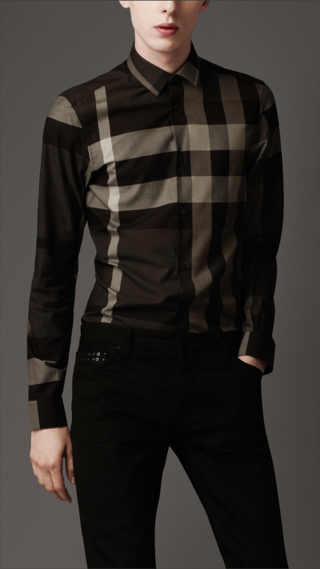 Burberry Slim Fit Check Shirt In Gray For Men Lyst