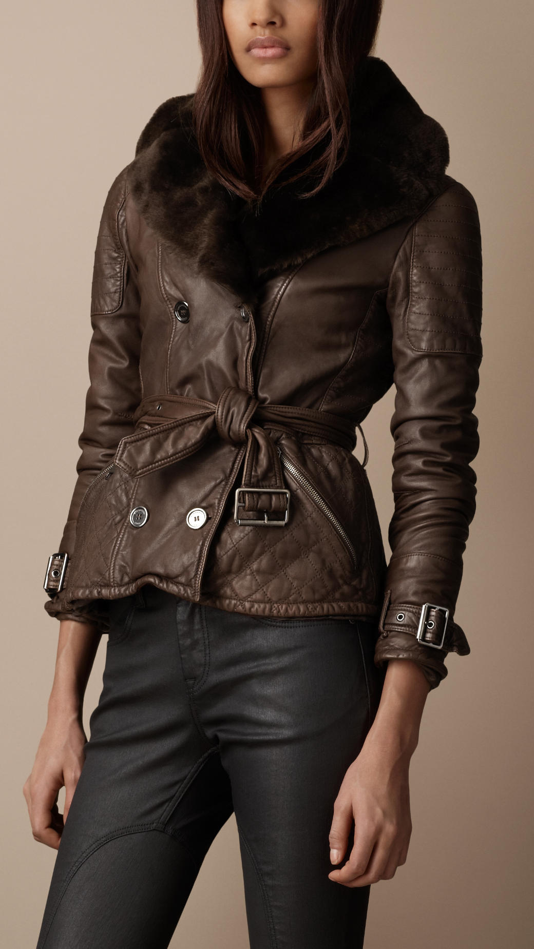 Lyst Burberry Brit Shearling Collar Quilted Leather