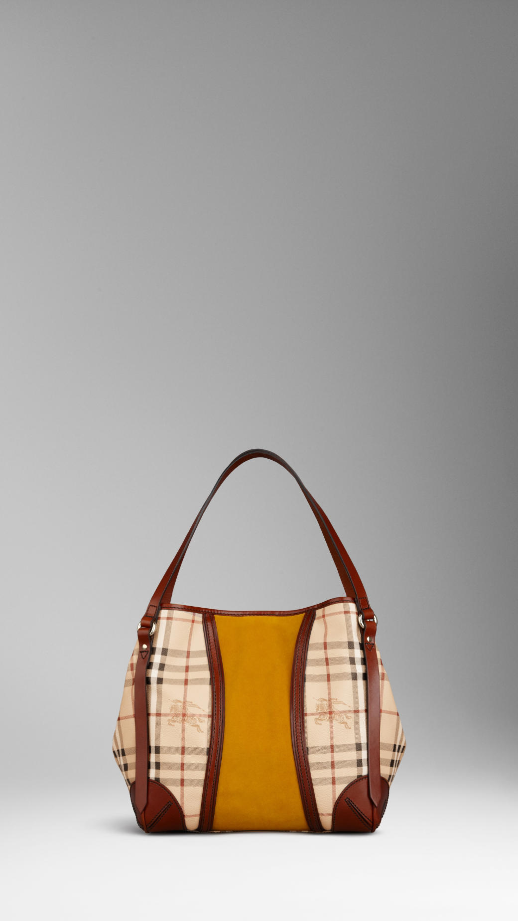 Burberry Small Haymarket Suede Panel Tote Bag in Yellow