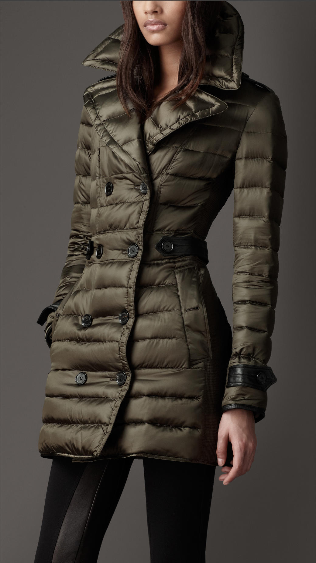 Burberry Downfilled Pea Coat in Green | Lyst